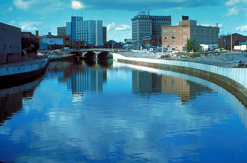 The Flint River in Flint, Michigan USA
