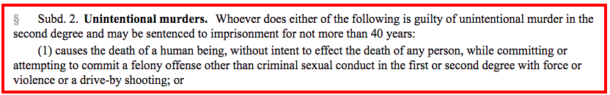 Relevant section of 2nd degree murder statute - Subd.2.